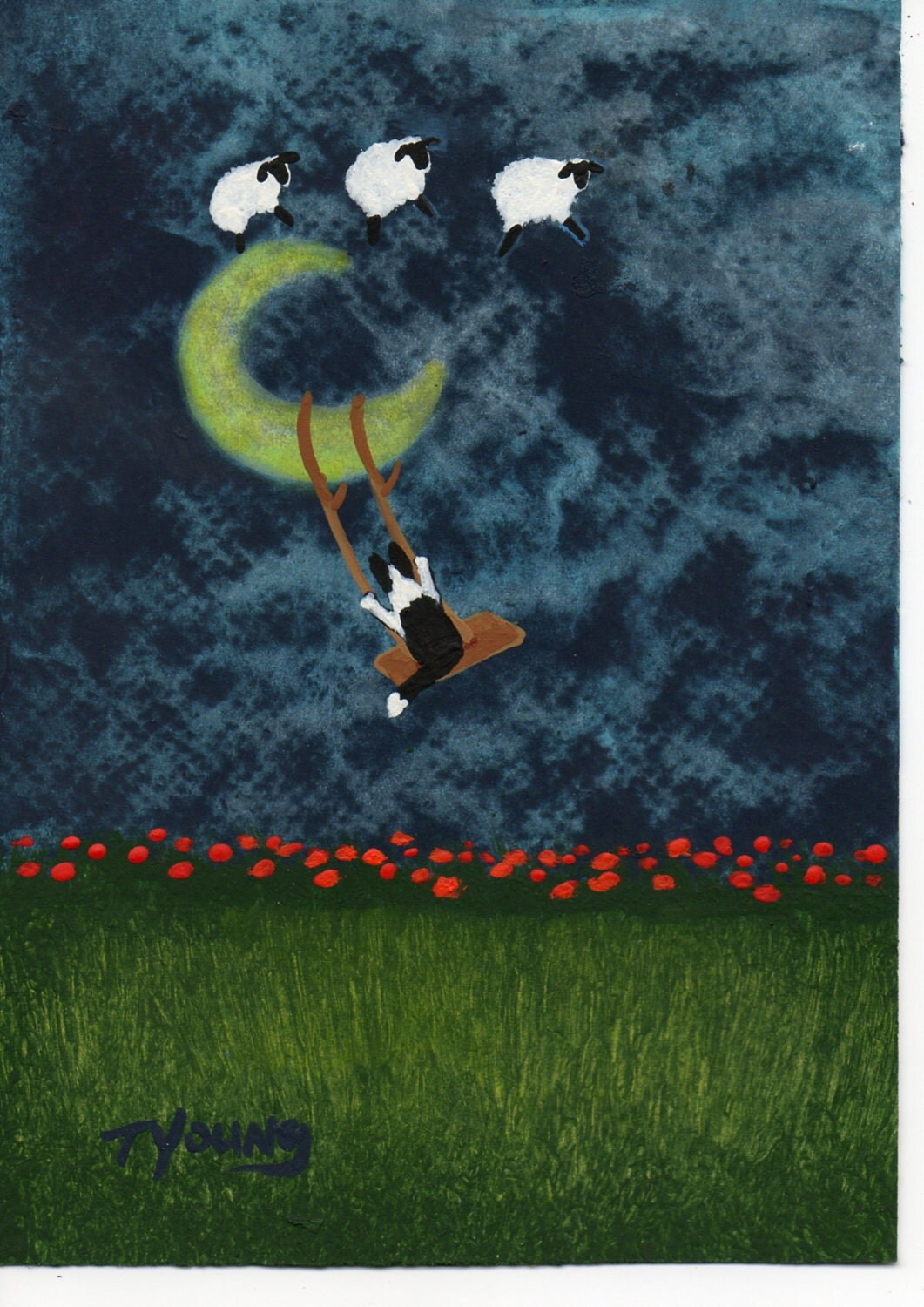 Border Collie Dog Outsider Folk Art PRINT Todd Young MOON SWING - ToddYoungArt