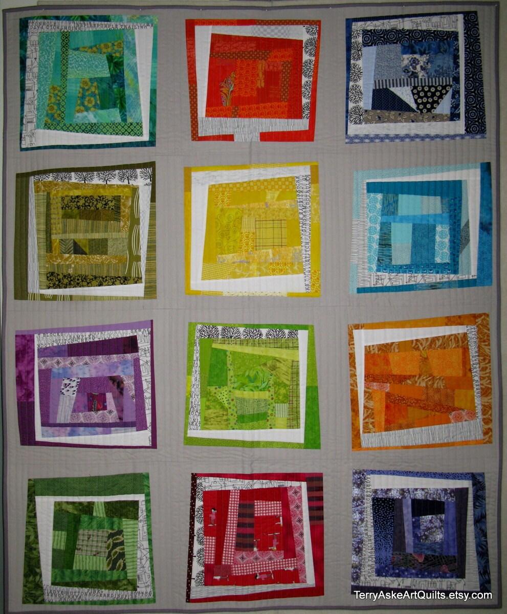 "Scrappy Improv Modern Quilt Wall Hanging - 50"" x 62"" - TerryAskeArtQuilts"