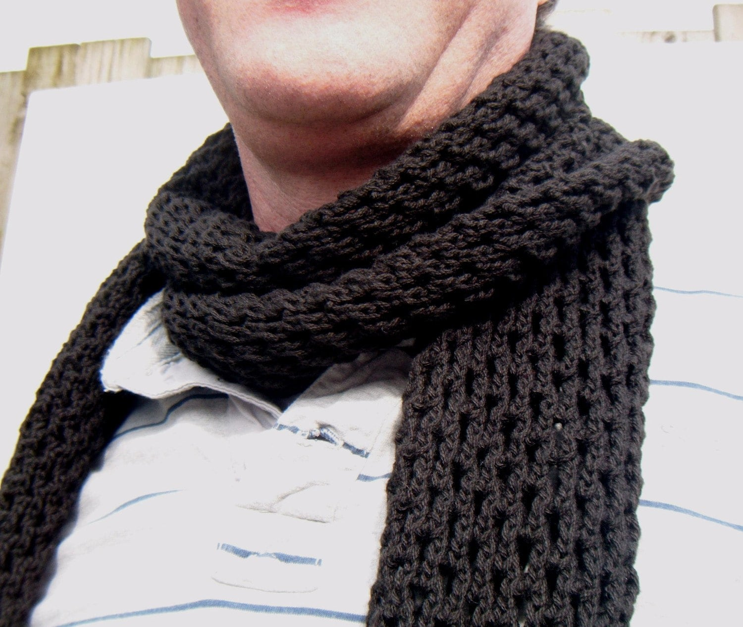 Knitting Patterns For Men Scarf : Sale 40 Hand Knitted Mens Scarf Mens Scarf In Dark Blue ...