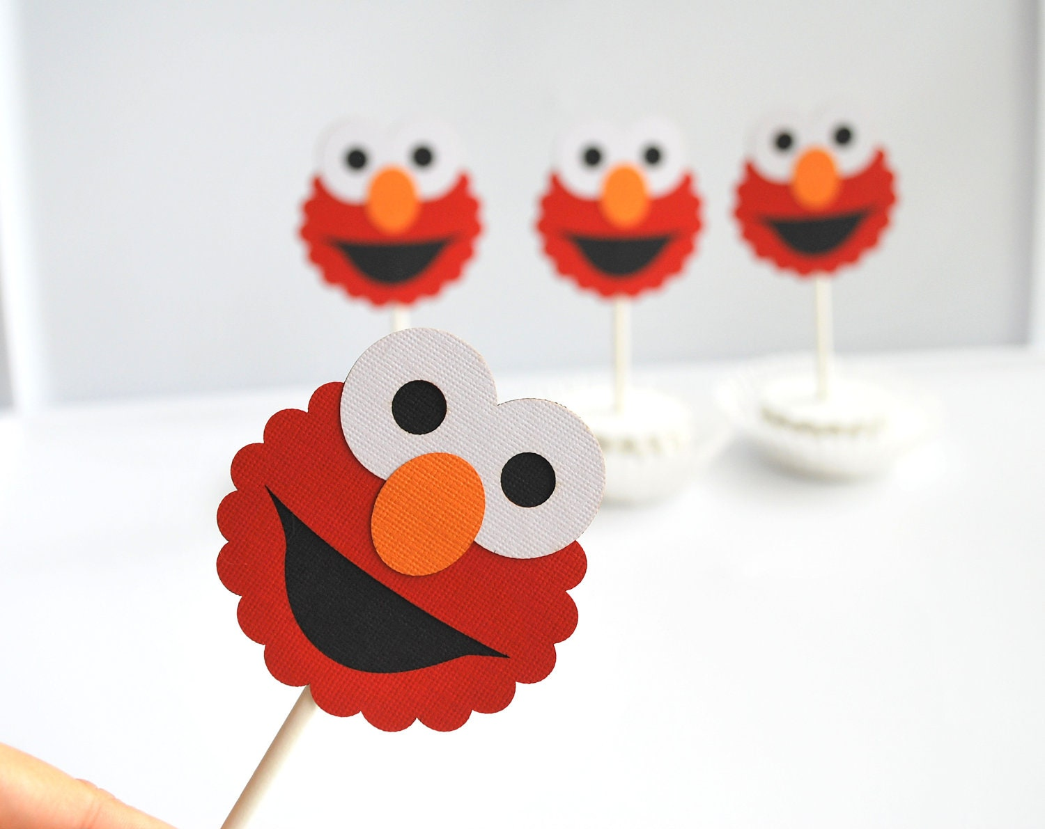 Elmo Cupcake Toppers, Die cut layered Elmo Cupcake toppers A282