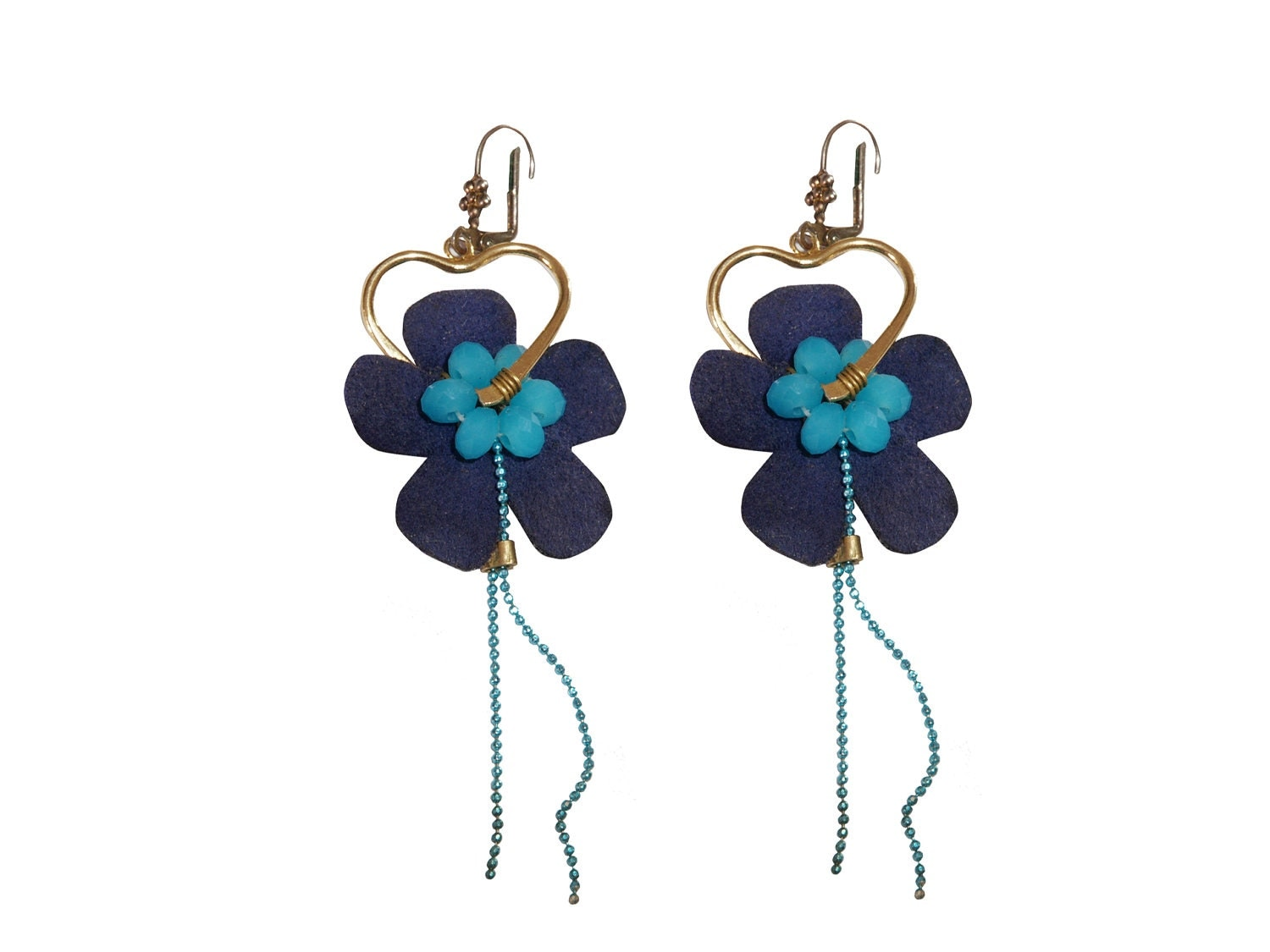 24K Gold Plated Earrings Hanging Suede Flower with Blue Quartz Crystal Beads