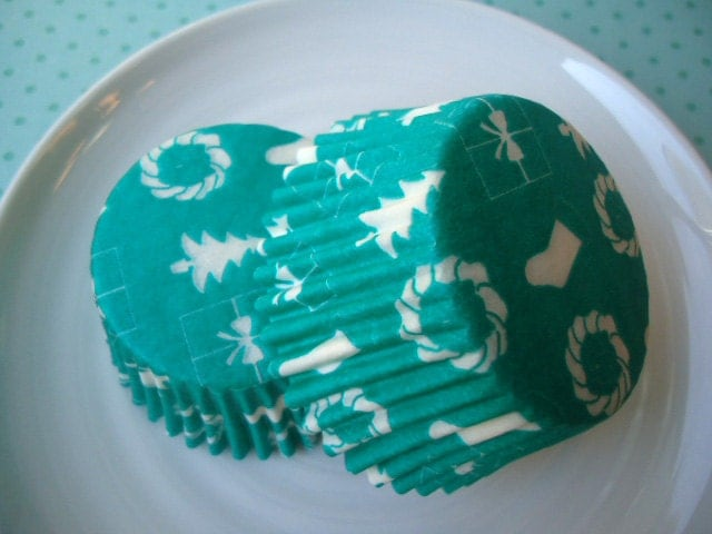 Christmas Teal Cupcake Liners - Teal Green Holiday Baking Cups (50) - SALE - SAVE 12% - CakesAndKidsToo