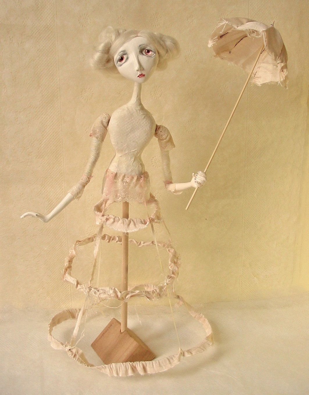 RESERVED - A Parasol for Agatha  (Art Doll)
