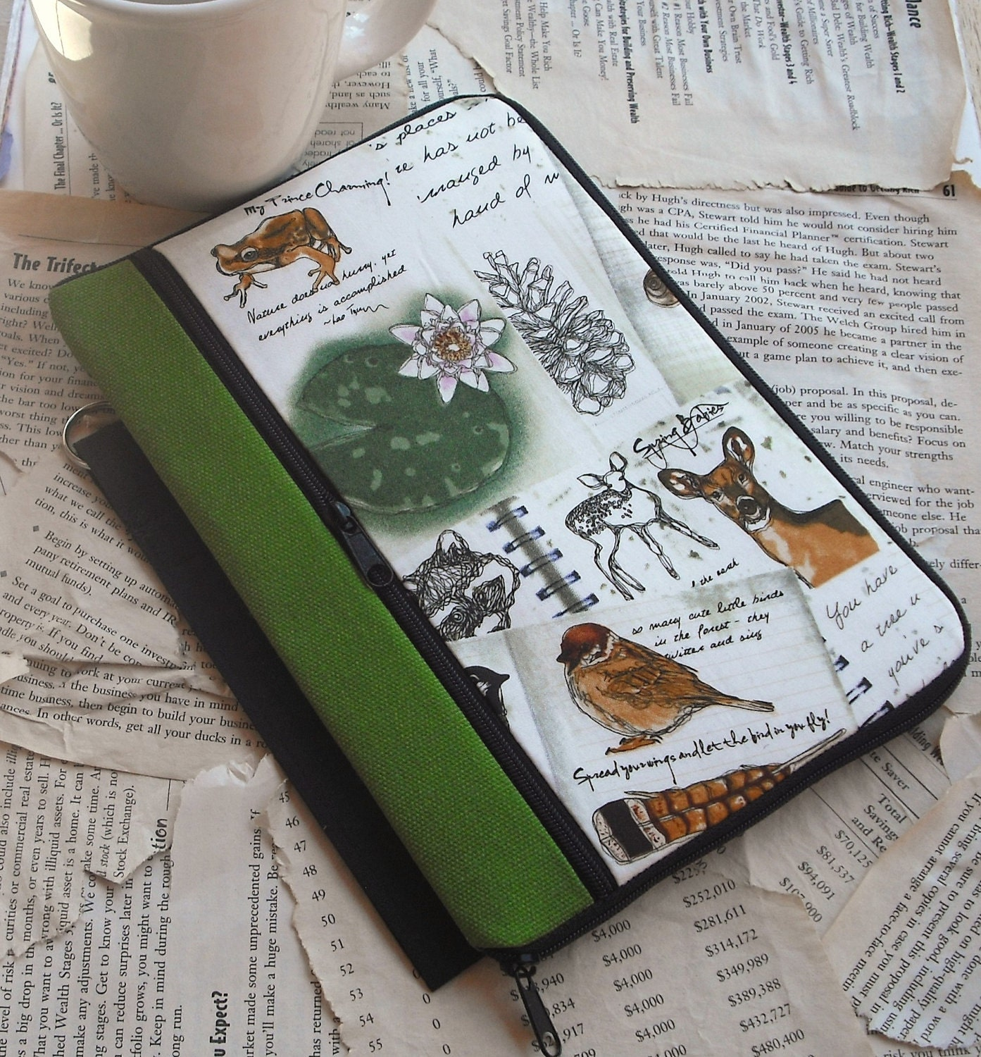 kindle nook SOFT COVER book style (FREE monogram) - nature journal