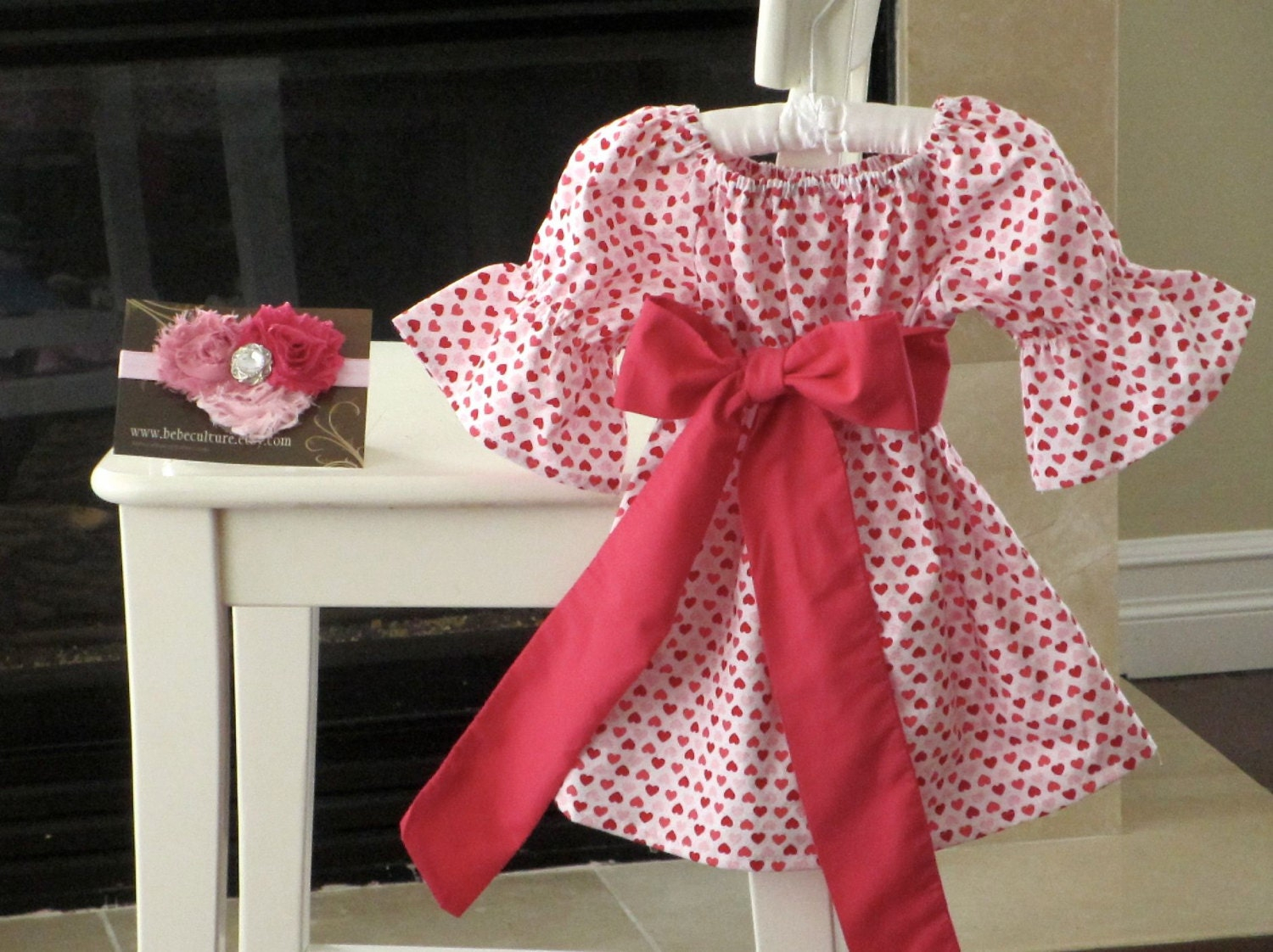 Valentines day dress girls peasant heart dress with hot pink sash