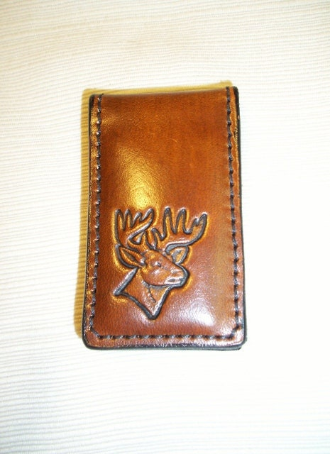 Leather Money Clip with anitque tan Deer