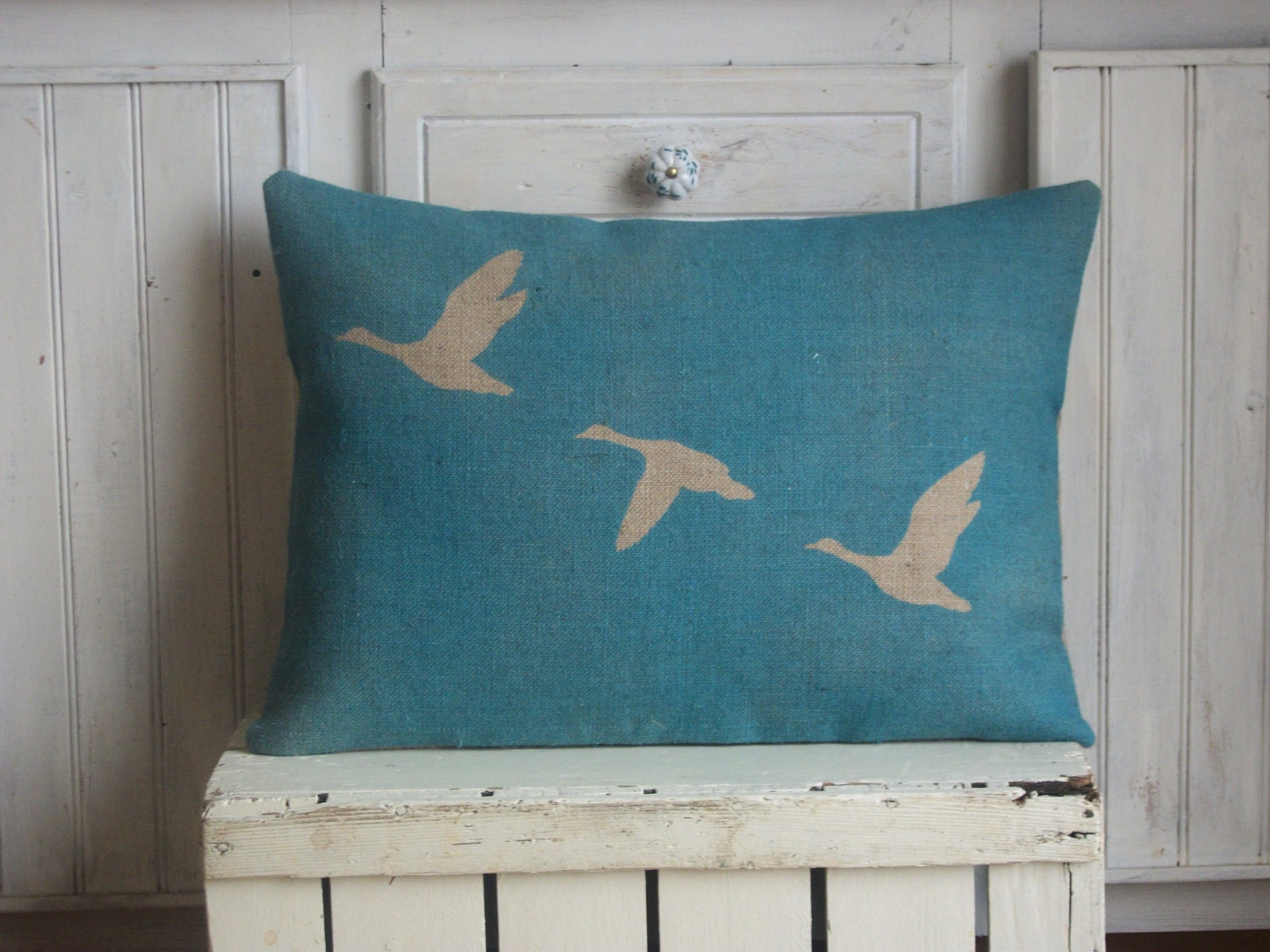 "Geese in Flight  Blue Hand Printed Rustic Hessian Cushion Burlap Pillow 14"" x 16"" - RusticCountryCrafts"
