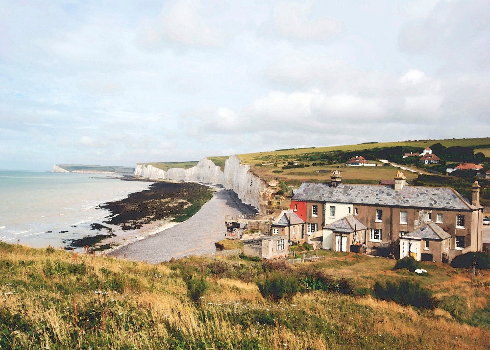 Fine art photo, Seven Sisters chalk cliffs, Sussex, England