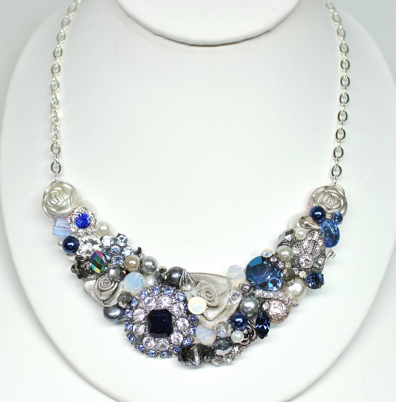 Navy Statement Necklace-Cobalt Blue- Blue Bridal Necklace- Something Blue- Navy Blue Bib Necklace- Rhinestone Necklace- Blue Accessories