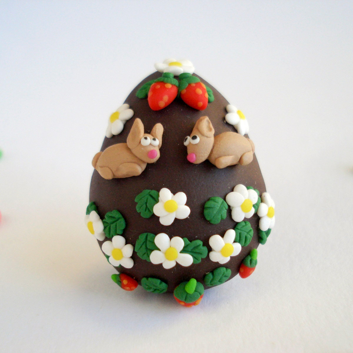 Easter Egg Brooch Bunnies and Strawberry Fields, Fun chocolate jewelry - Thelittlecreatures
