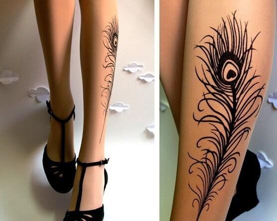 N E W sexy PEACOCK FEATHER TATTOO gorgeous kneehigh socks LIGHT MOCHA