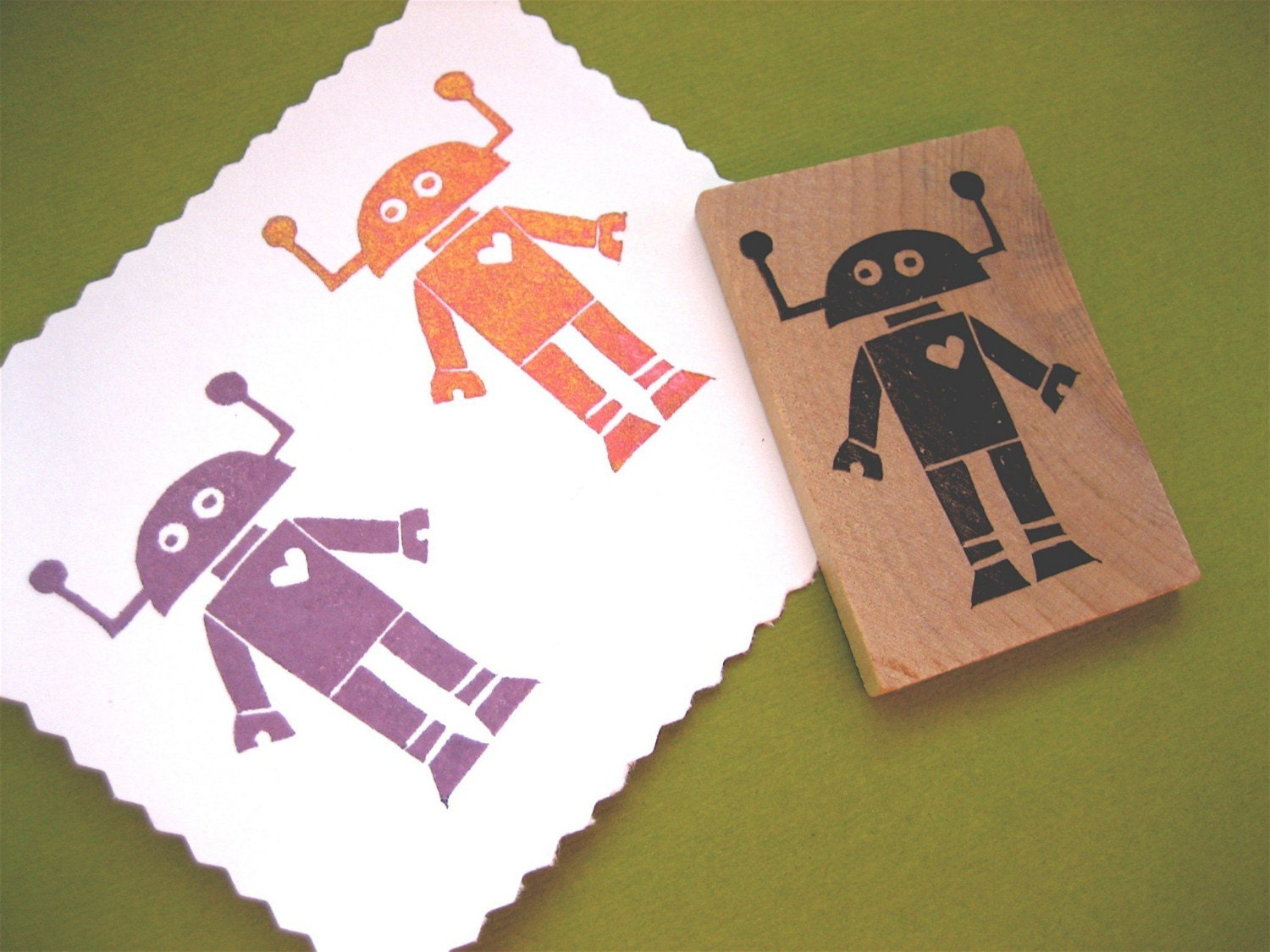 Robot Rubber Stamp Hand Carved