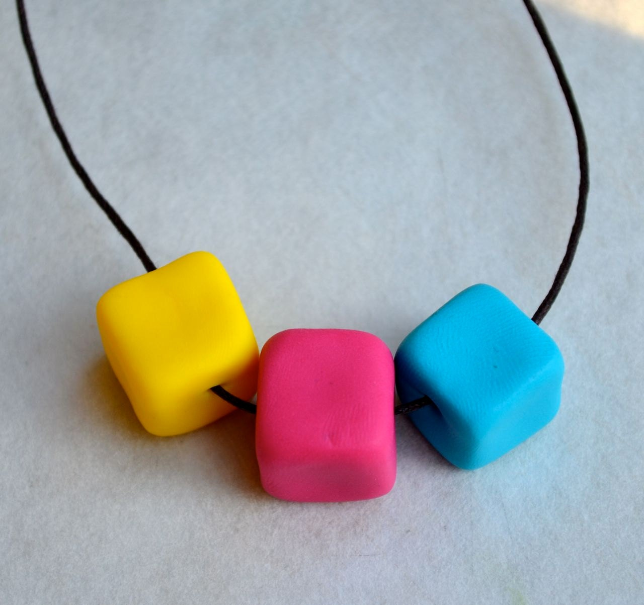 Polymer Clay Beads - Long Necklace - Bright Cubes - NewburyLane