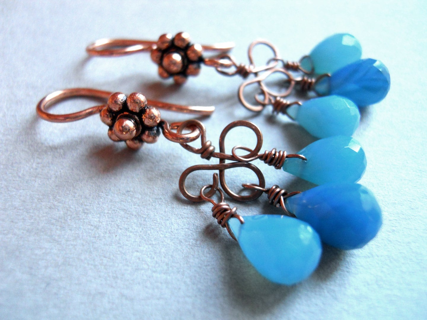 Blue chalcedony on copper chandelier earrings - Mixed Blues - $35.00 USD