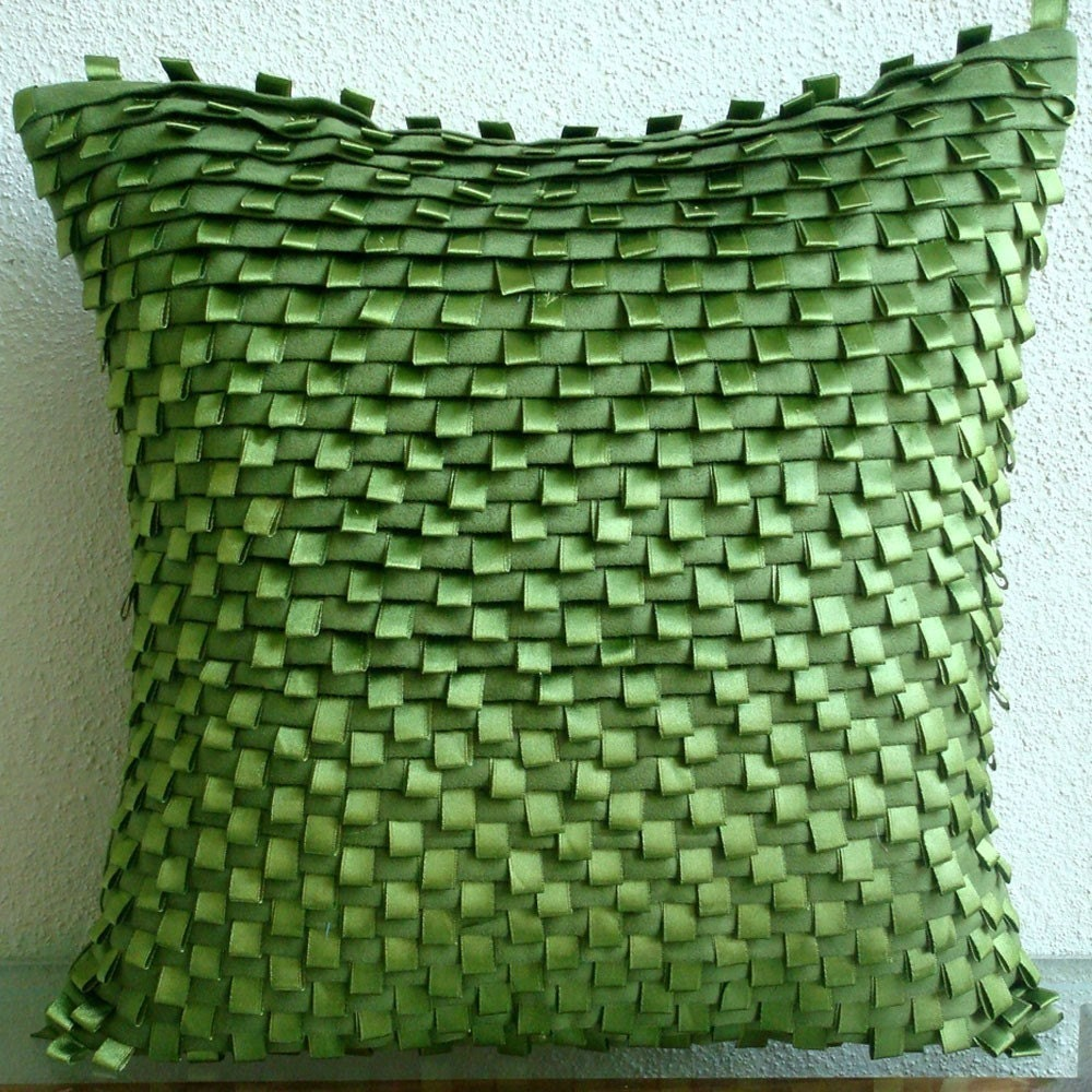 Go Green - Бросьте Обложки Подушка - 16x16 дюймов Замша Чехол с Pintucks и атласной лентой