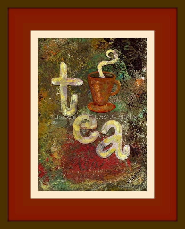 Tea art collage, Original, Tea wall art, Tea cup art, Kitchen art, Kitchen collage, Original kitchen art, Affordable original art