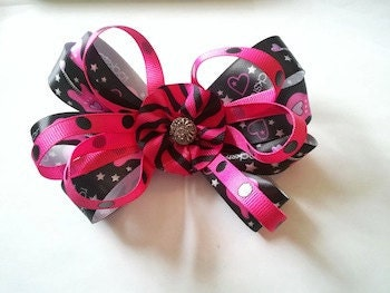 Pink & Black Rockstar Hair Bow