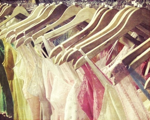 Summer Wardrobe - Lingerie Photography Pastel pink yellow wooden hangers whimsical summer boudoir vintage inspired photograph lace boho - honeytree