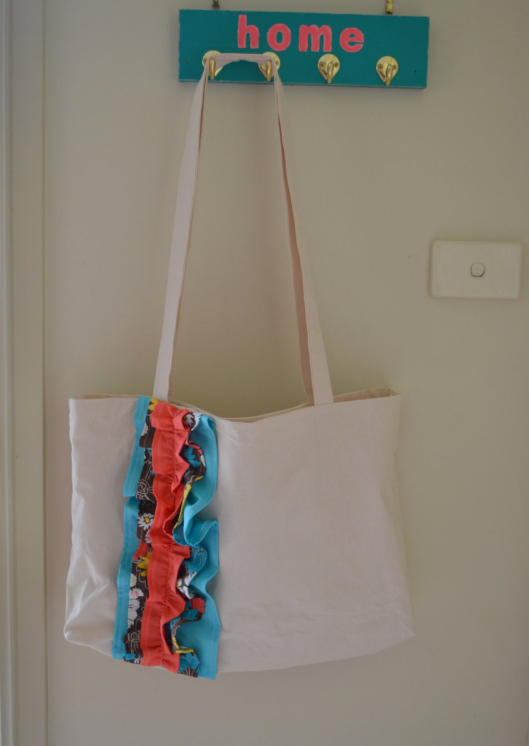 Floral Ruffled Love Tote Bag