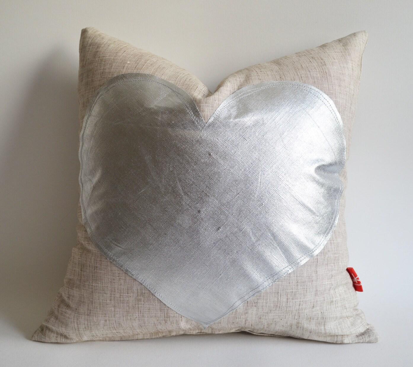 Sukan / Silver Heart Pillow Cover - Raw Linen Pillow - Decorative Pillow - Accent Pillow - Valentine Day Gift - 16x16 Pillow Cover