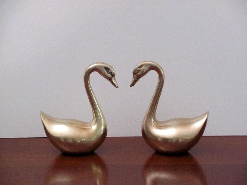Vintage Brass Swans, pair
