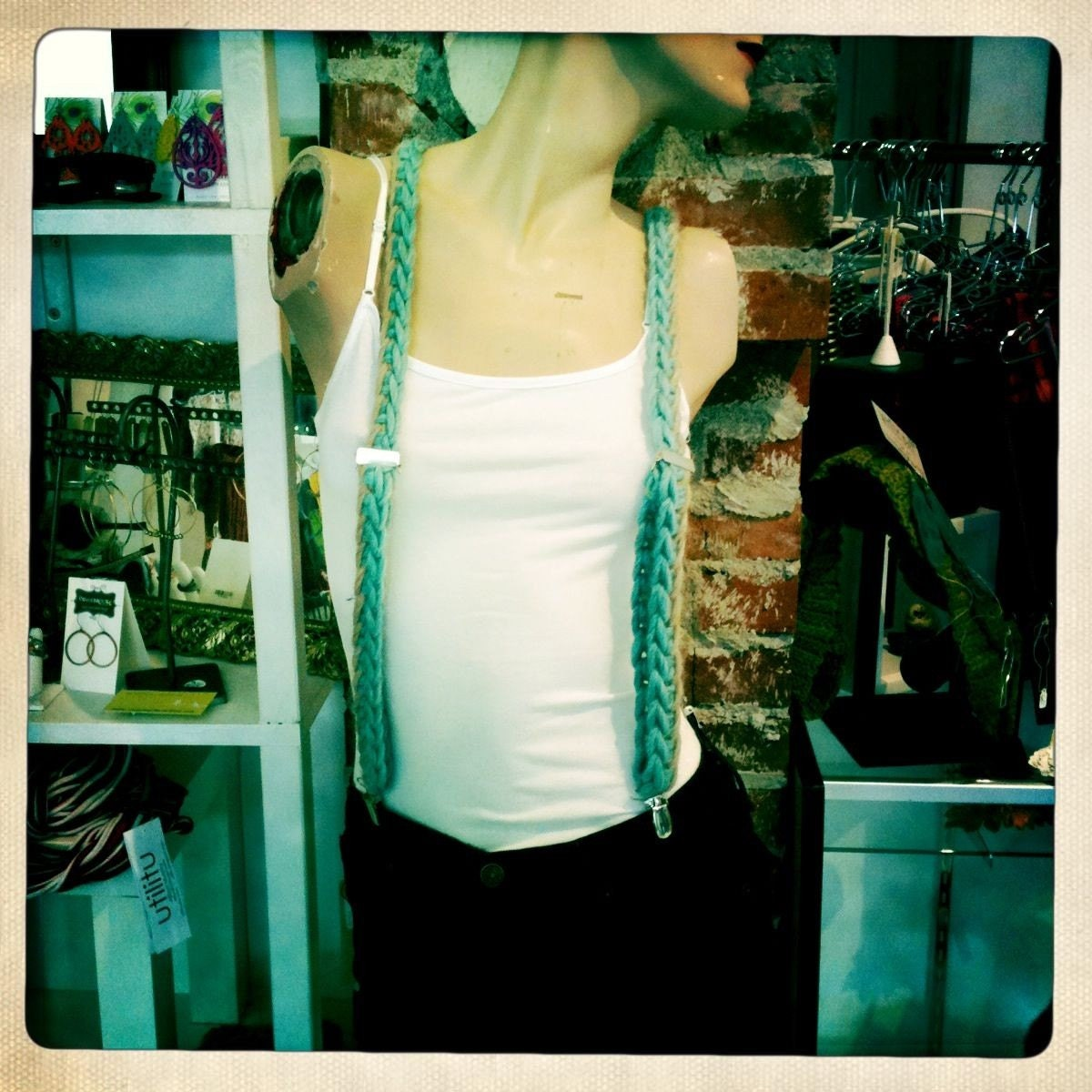 Peruvian Wool Suspenders in Sky Blue and Sand