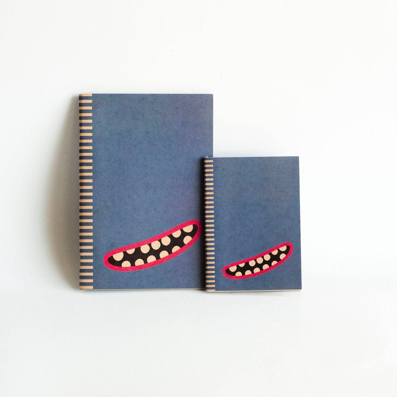 SET OF 2 : Kraft Paper & Saddled Stitched Notebooks - Blue Monster - NotbookNotbuk