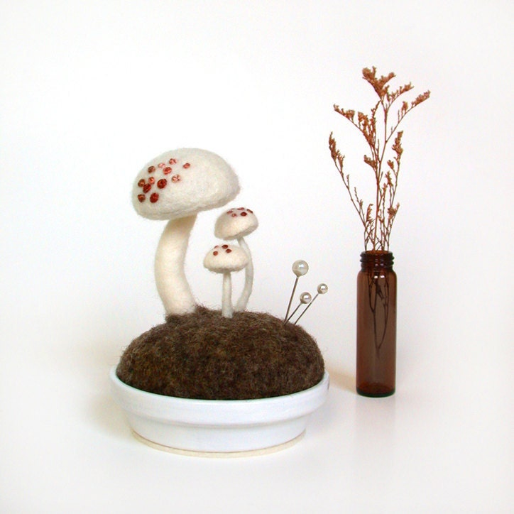 White Mushrooms - Pink Spots Nature Scene Pincushion Made To Order Home Decor - FoxtailCreekStudio