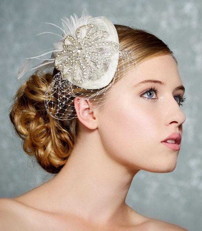Ivory Bridal Hat, Crystal Wedding Fascinator, Mini Hat, Birdcage Veil, Swarovski Crystal Headpiece - DARLENE - Made to Order