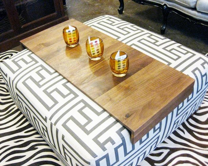 Ottaman Enrole Tray - Mesa resto bebida madeira recuperada para o sofá sofá ou divã