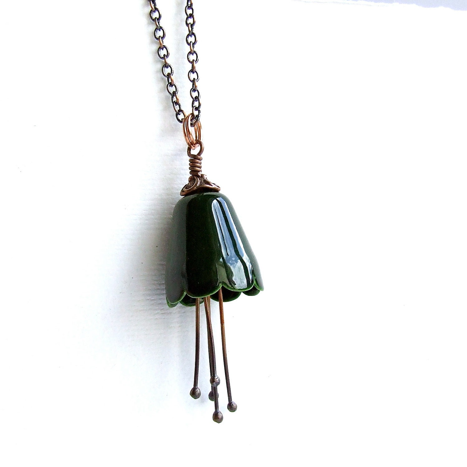 Forest Green Enamel Flower, Copper Stamen- Enamel Necklace - Fall Fashion
