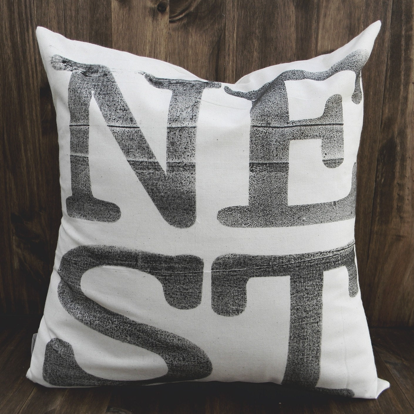 NEST 4 Letter Word 16 x 16 Pillow Cover, home decor, family gift, new family, house warming, love, cozy
