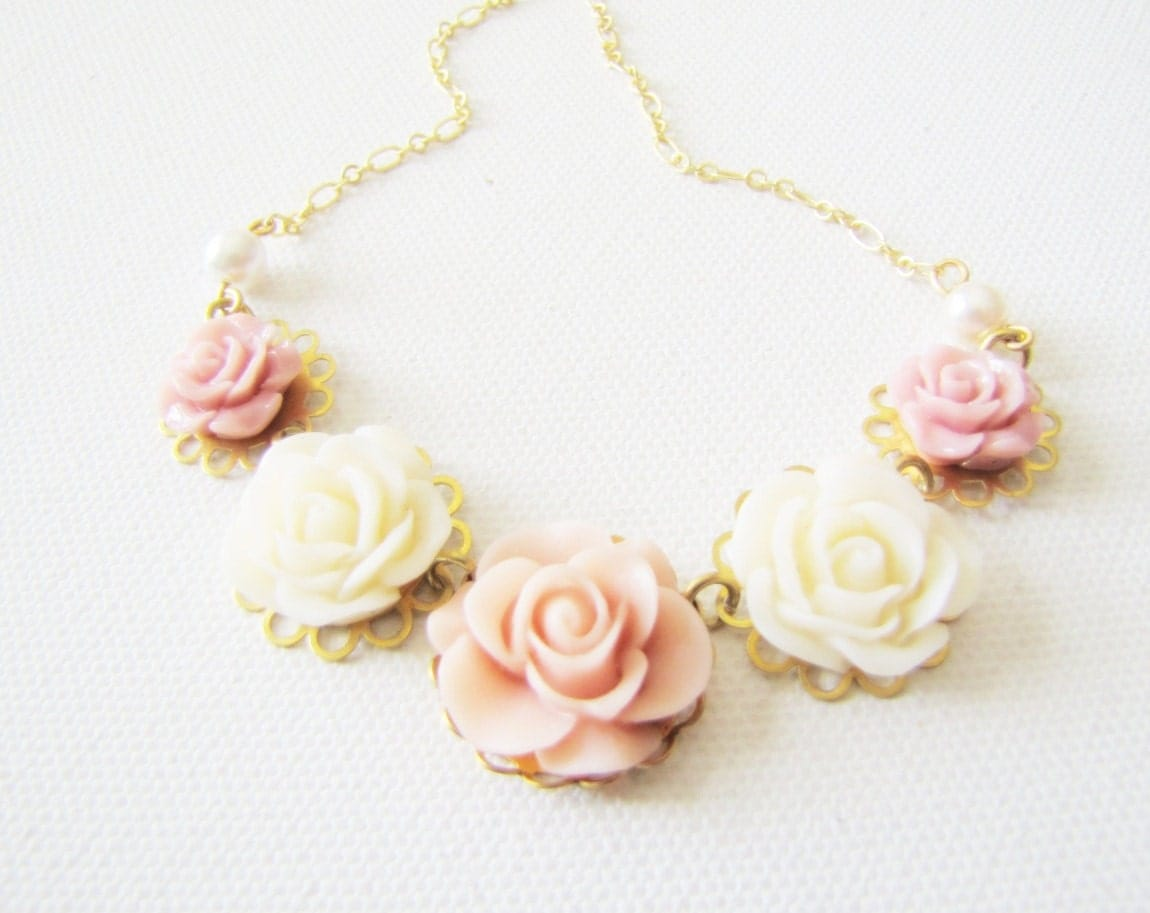 Shabby Chic Jewelry Necklace Romantic Vintage Style Jewlery Rose Flower Necklace Bib Necklace Bridesmaids Maid of Honor Jewelry - TwigsAndLace