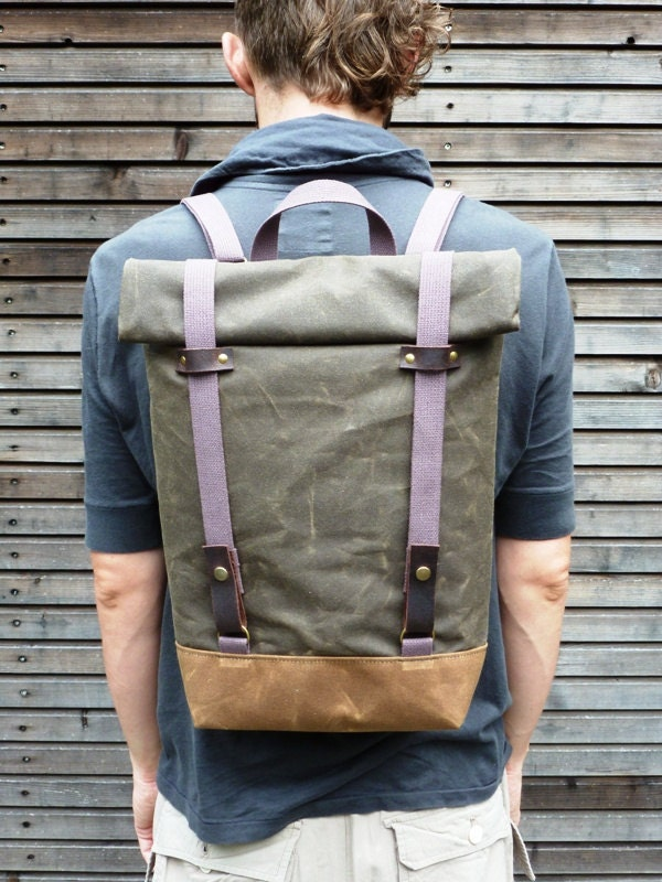 Waxed canvas rucksack/backpack with roll up top and double waxed bottem UNISEX - treesizeverse