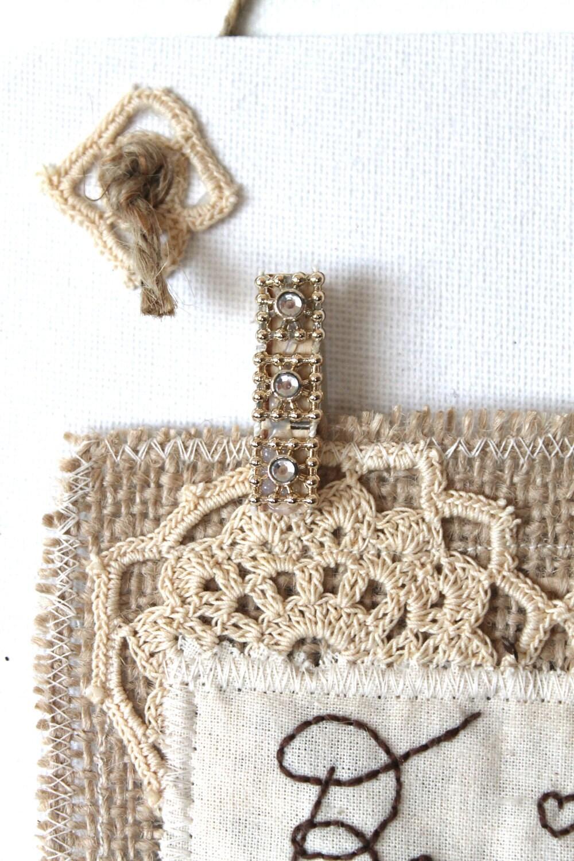 Французское искусство оригинала Vintage Style Потертый Chic Вышивка Искусство вязания крючком