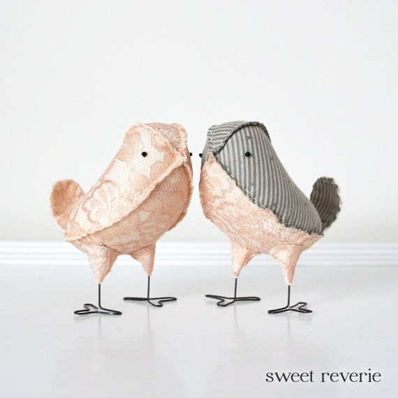 Love Birds Wedding Cake Toppers, Pale Blush Pink Lace and Grey Pinstripe Fabric Birds, Winter Spring Summer Wedding - Made to Order - asweetreverie
