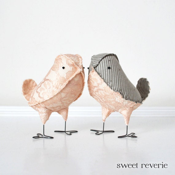 Love Birds Wedding Cake Toppers, Pale Blush Pink Lace and Grey Pinstripe Fabric Birds, Winter Spring Summer Wedding - Made to Order