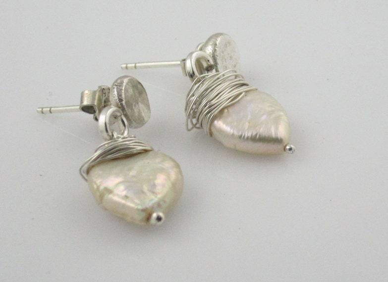Pearl Drop Earrings - White Heart Shaped Pearl - Sterling Silver - Stud, Post Earrings -  Everyday Use- - serpilguneysudesigns