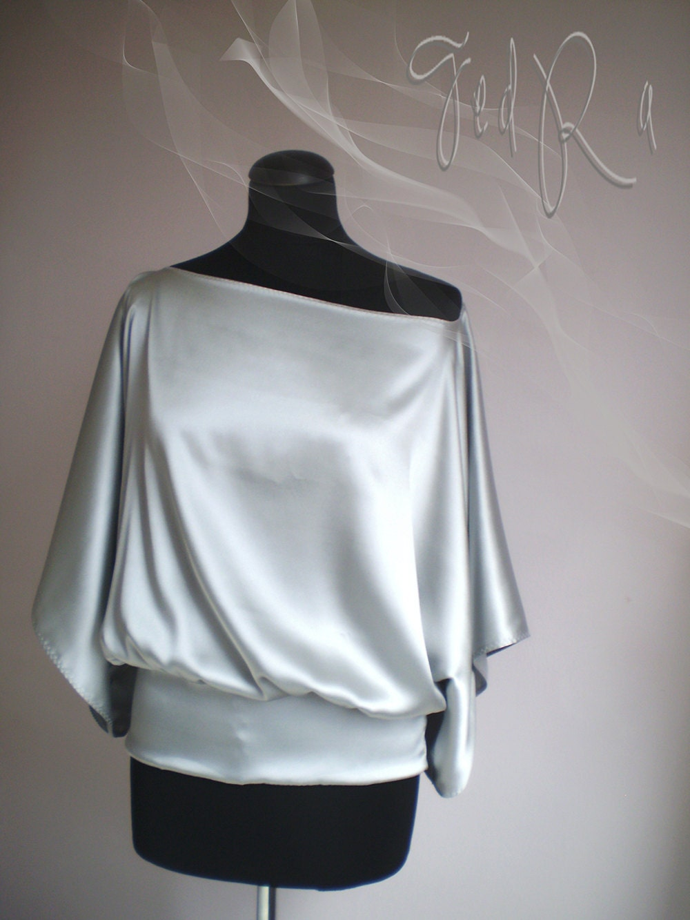 grey silk oversize blouse of fine italian silk,embroidered edges