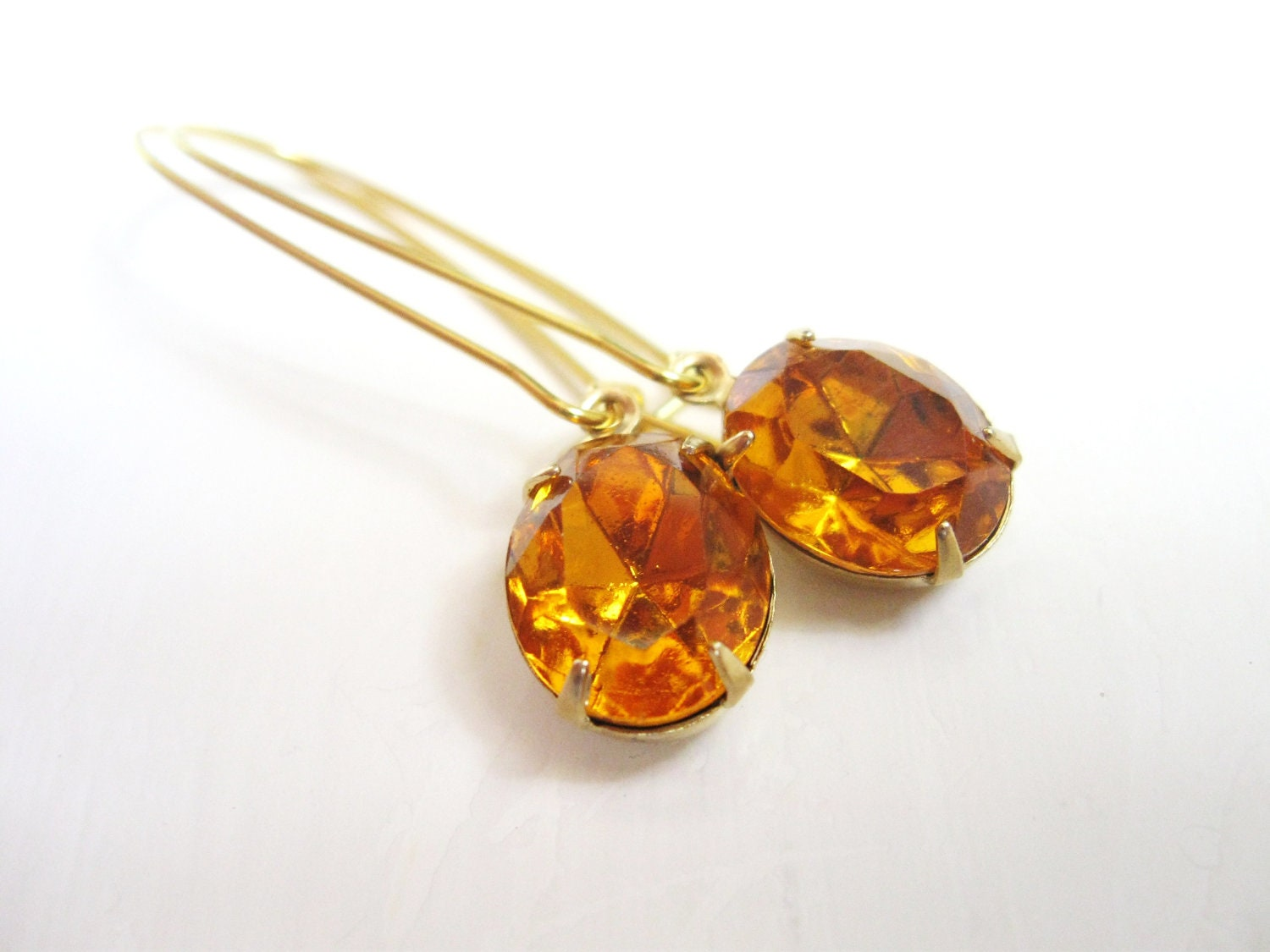 Golden Topaz crystal rhinestone in brass -  Estate style jewelry - honey
