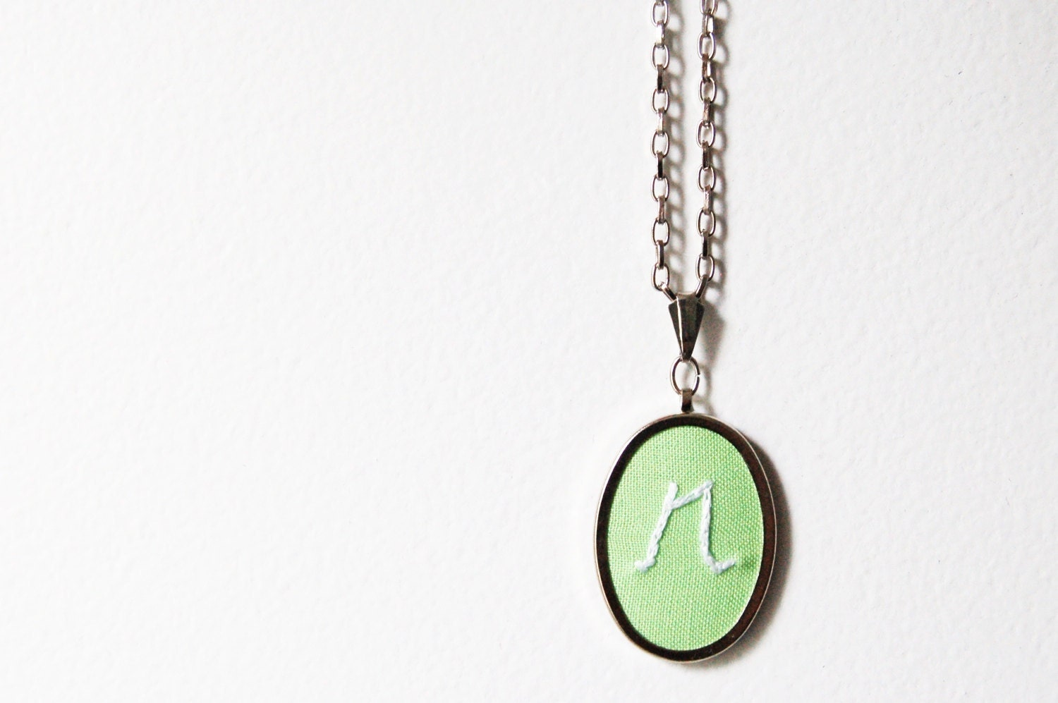 READY to SHIP. Embroidered Initial Necklace. Lowercase R, Pastel Mint Green and White. Handmade by merriweathercouncil on Etsy - merriweathercouncil