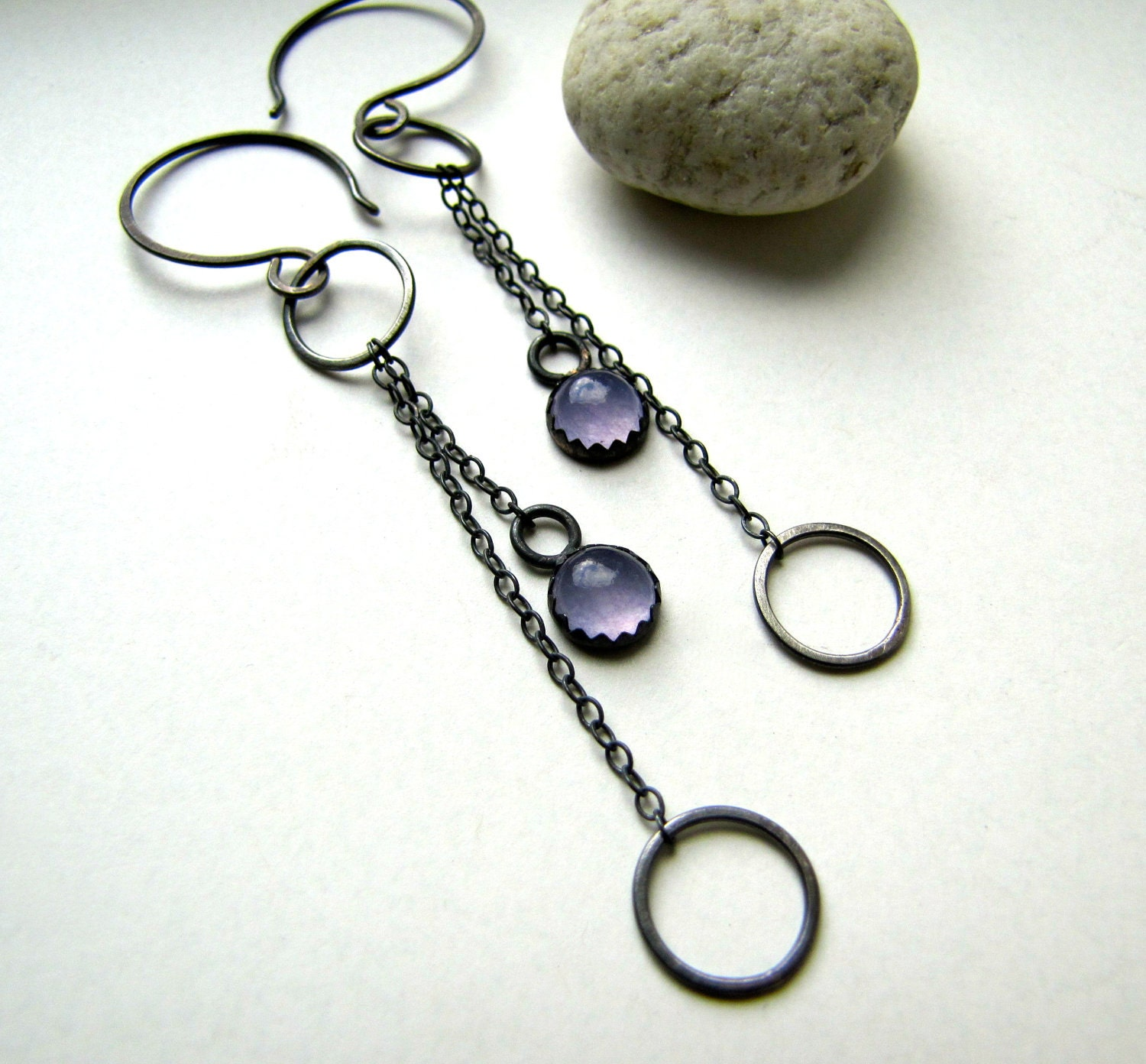 Balancing Act purple chalcedony and sterling silver earrings