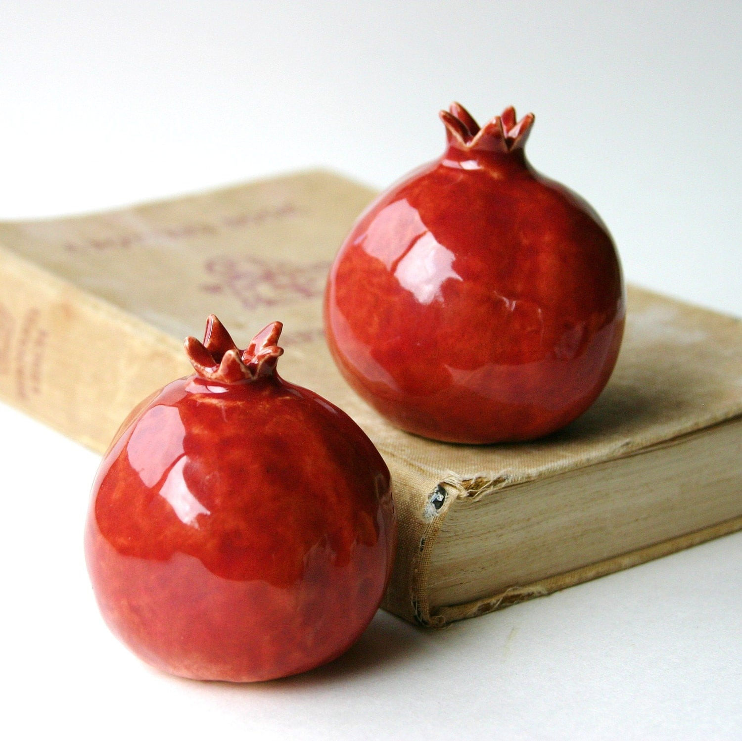 Pomegranates Salt & Pepper Shakers -  Handmade Porcelain Sculptures - Kitchen Table Home Decor - Vintage Plum Coral - BackBayPottery