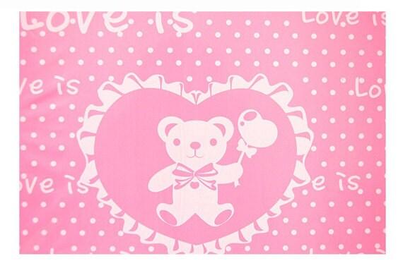 50 Love bear Opaque Cut Out Handle Plastic Bags, 25cmx35cm
