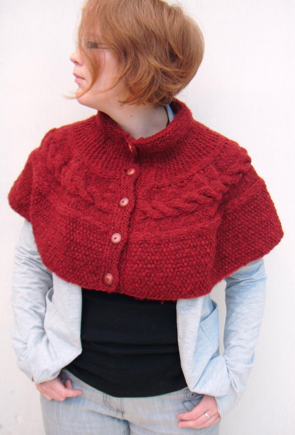 Cable Capelet, Button Up Cape - Deep Wine Red