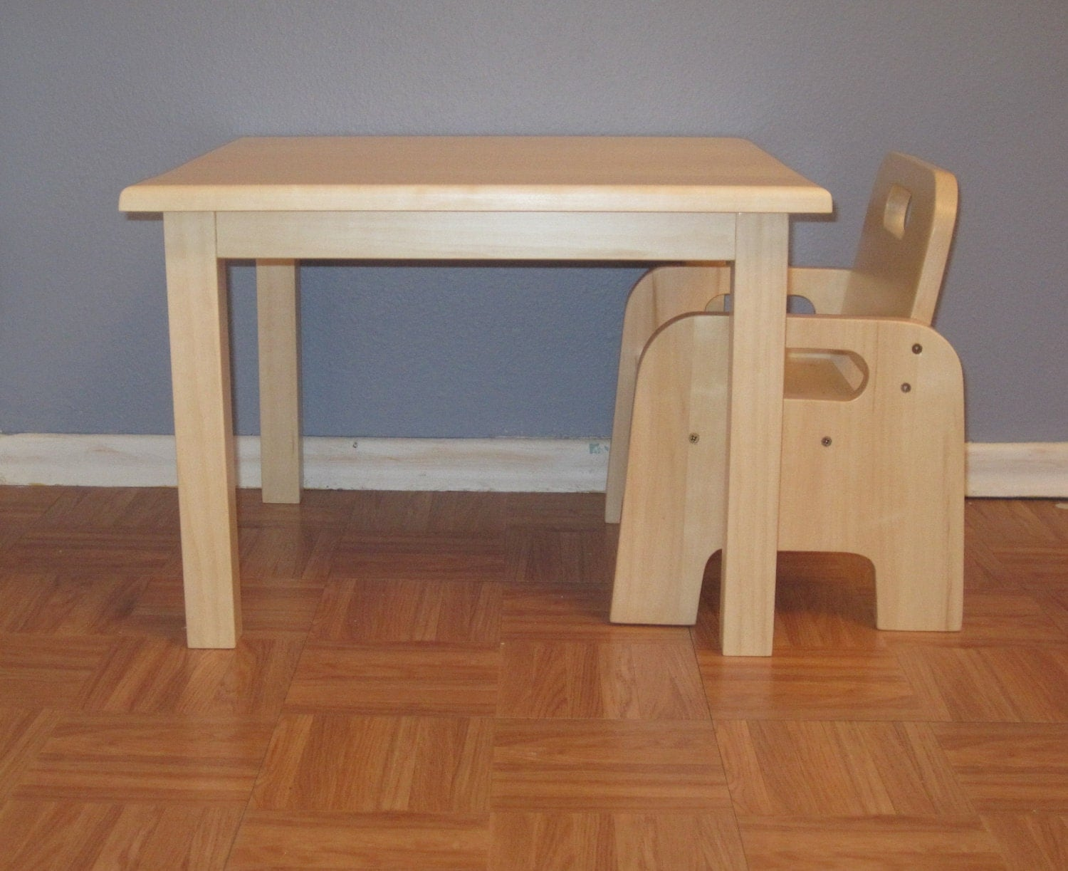 Children's Wooden Table and Two Chairs