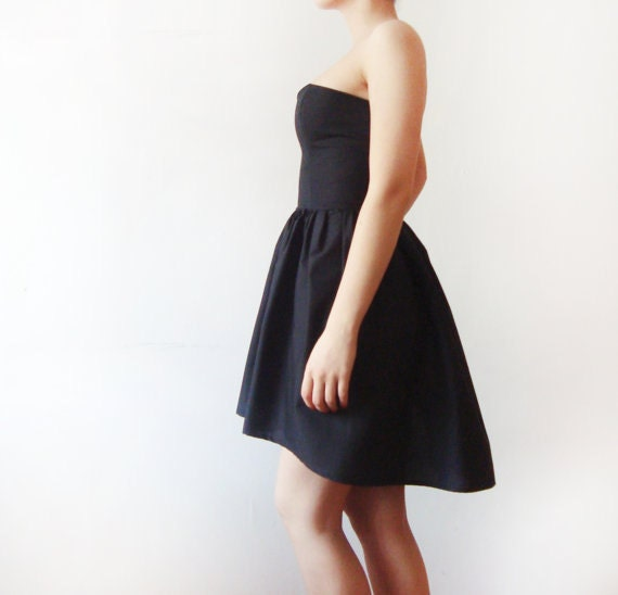 Black Cotton Dress, Little Black Dress, Bridesmaids dress, Asymmetrical Black dress, party dress - boned bodice dress - Made to order - dhela