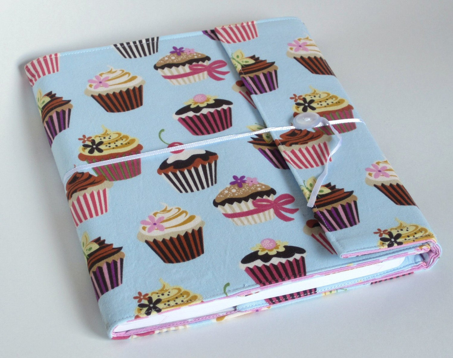 Cupcake Reusable Fabric Covered Composition Book Cover - with pen and composition book