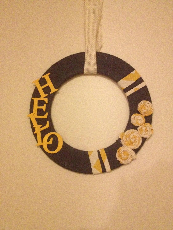 "12"" Circular Navy Yarn and Yellow Fabric ""Hello"" Wreath"