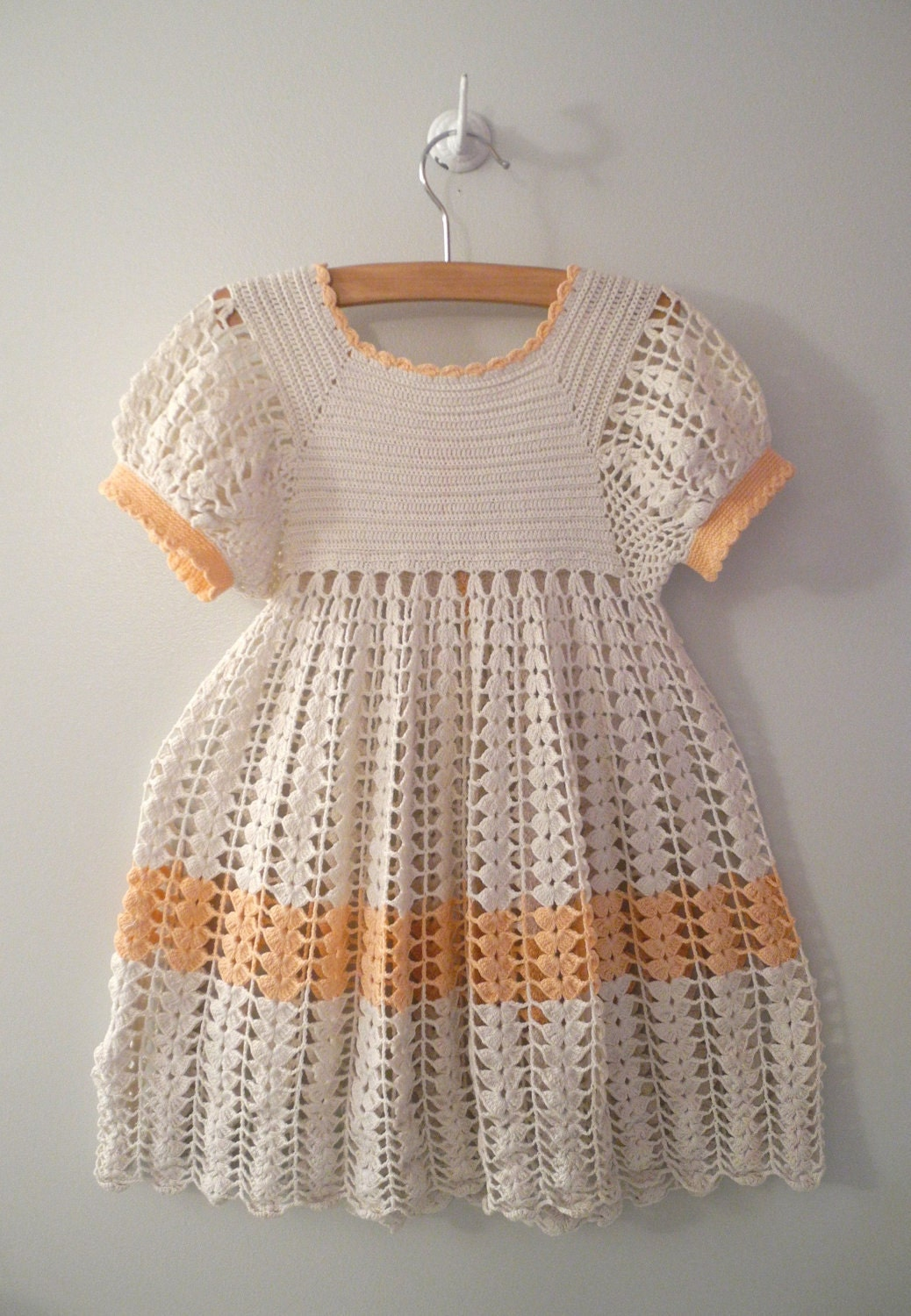 1940's Handmade Ivory and Pink Crocheted Dress - BabyTweeds